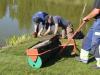 Killar som lägger gräsmattan