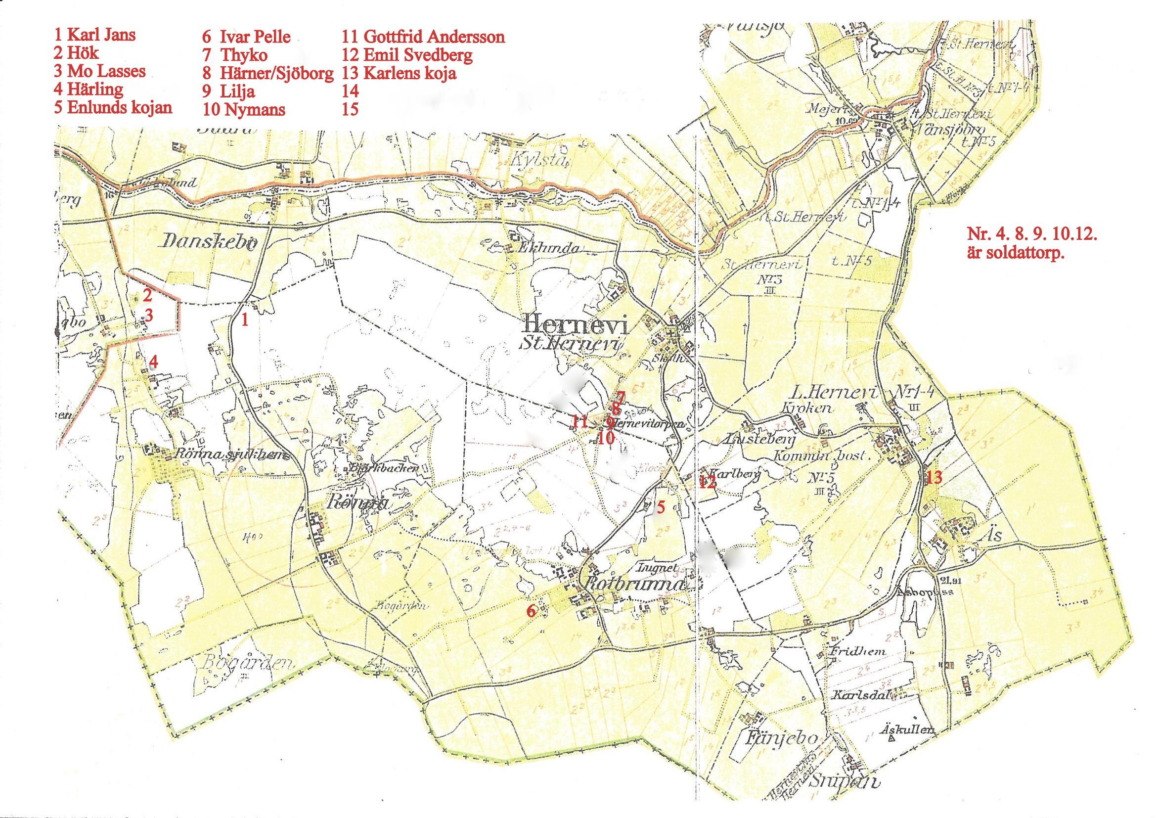 Karta över torp  inkl soldat torp